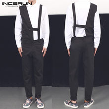 INCERUN Men Casual Black Jumpsuits Fashion Sleeveless Long Pants Overalls Man Irregular Breathable Rompers Fitness Chic Joggers7(China)