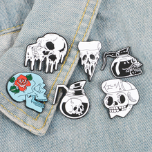 6 Style Skeleton Enamel Pin Coffee Pot Pizza Skull Badge Brooch Backpack Clothes Lapel Pin Punk Jewelry Gift for Friends цена
