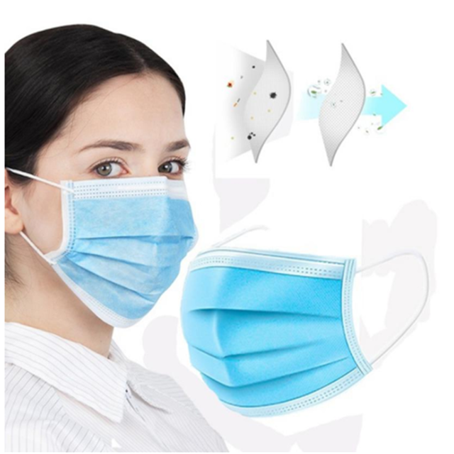 1/10/20/30/50 Pieces/Pack Disposable mask Flu Hygiene Face Mask3-Layer Non-woven Disposable Elastic Mouth Soft Breathabl