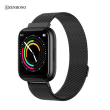 SENBONO מלא מגע P6 חכם שעון צמיד גברים נשים ספורט שעון קצב לב צג שינה צג Smartwatch tracker עבור טלפון