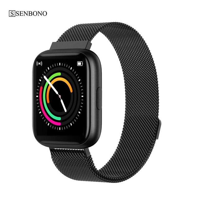 SENBONO w pełni dotykowy P6 pasek do smarwatcha mężczyźni kobiety zegarek sportowy pulsometr snu inteligentny zegarek do monitorowania tracker na telefon