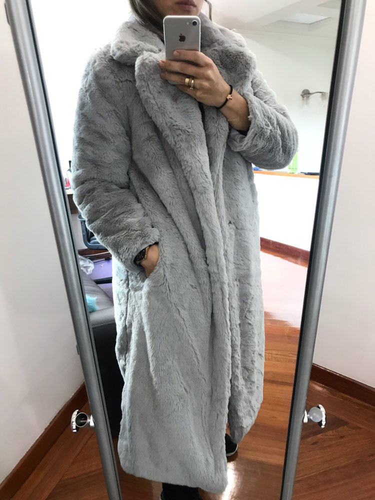 Winter Women Faux Rabbit Fur Coat Luxury Long OverCoat Thick Warm Plus Size Plush Coat