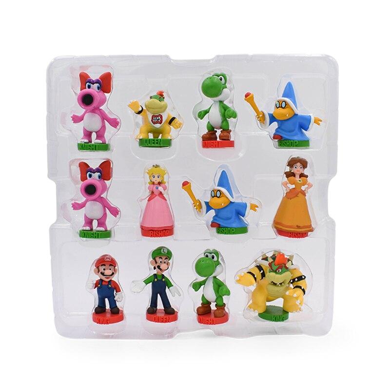 32Pcs/Set Super Mario Bros PVC Action Figures Toys Yoshi Peach Princess Luigi Shy Guy Odyssey Donkey Kong Chess Game Doll 2