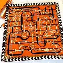 90cm Twill Silk Square Scarf Women Handmade Curled Brand Design Hijab Scarf Belt Print Bandana Foulard Head Scarves Shawl snood