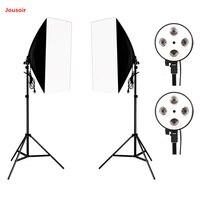 Photography Photo Studio Lighting Kit 2PCS*4 Socket Lamp Holder +2PCS* 50*70CM Softbox +2PCS*2m Light Stand Photo Soft Box CD05Y