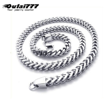 oulai777 2019 stainless steel wholesale polishing men necklace man male big long punk gold chain link on necklaces black silver