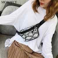 Vintage Snake Waist Bag Women Handbag Serpentine PU Leather Crossbody Phone Pouch Fanny Chest Packs Large Messenger Shoulder Bag