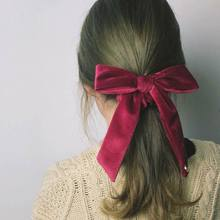 Women Girl European Vintage Hair Rope Velvet Glitter Solid Color Removable Long Ribbon Bowknot Headband Ponytail Holder Scrunchy(China)