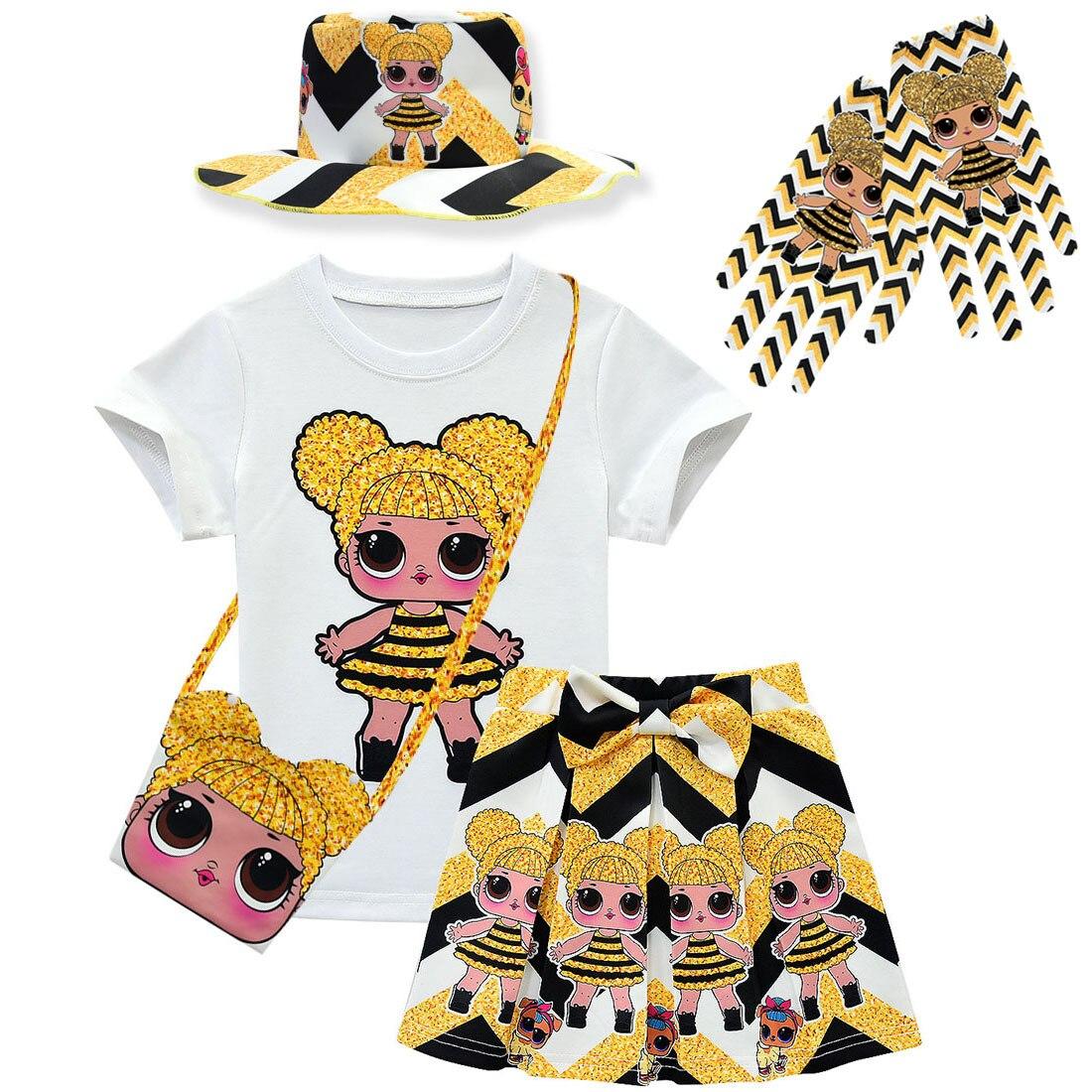Summer Girls Clothing Lol Set Baby Kids Toddler Girls Set Clothes Birthday Party Tutu Dress Tshirt Skirt Bag Hat Gloves Suit