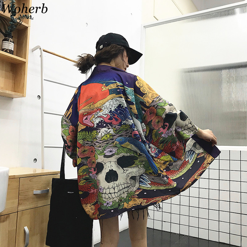 Woherb Summer Japanese Harajuku Kimono Skull Print Vintage Blouse Sunscreen Yukata Cardigan Jacket Women And Man Shirt 21300