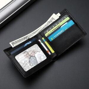 Image 2 - Portfel skórzany mężczyźni krótki 100% kożuch Tide marka garnitur portfel młodzieży prosty projektant pieniądze klipy rabat Hot 2020 nowy