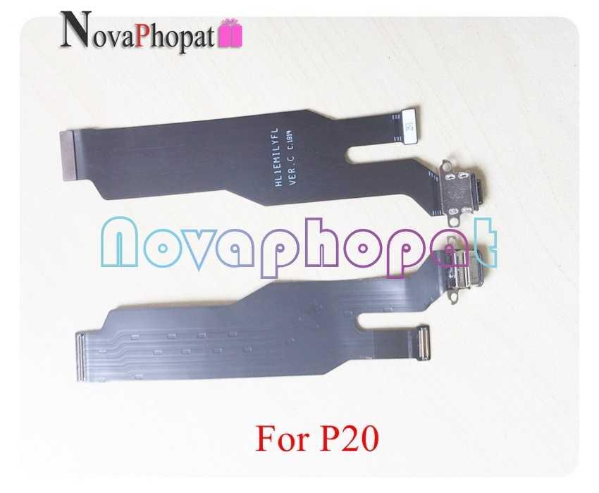 Novaphopat لهواوي P20 شاحن ميناء USB حوض شحن ميناء الرئيسية FPC شاشة الكريستال السائل ربط اللوحة فليكس كابل المسار