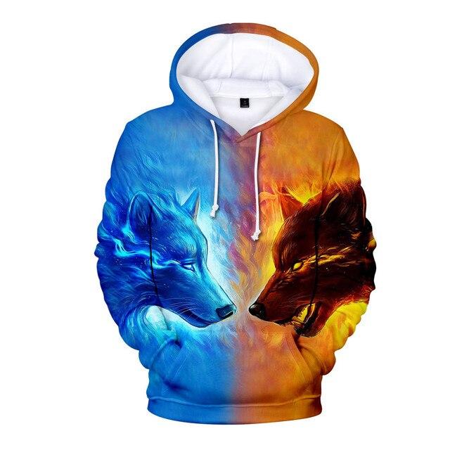 New Wolf 3D Printed Hoodies Men Women Boys Shinning Wolf Design Hoodie Sweatshirts Fashion Harajuku Jacket Coat Brand Clothes