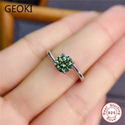 Geoki 925 argent Sterling passé diamant Test 1 Ct vert et bleu Moissanite bague de fiançailles femmes luxe eemeraude bijoux