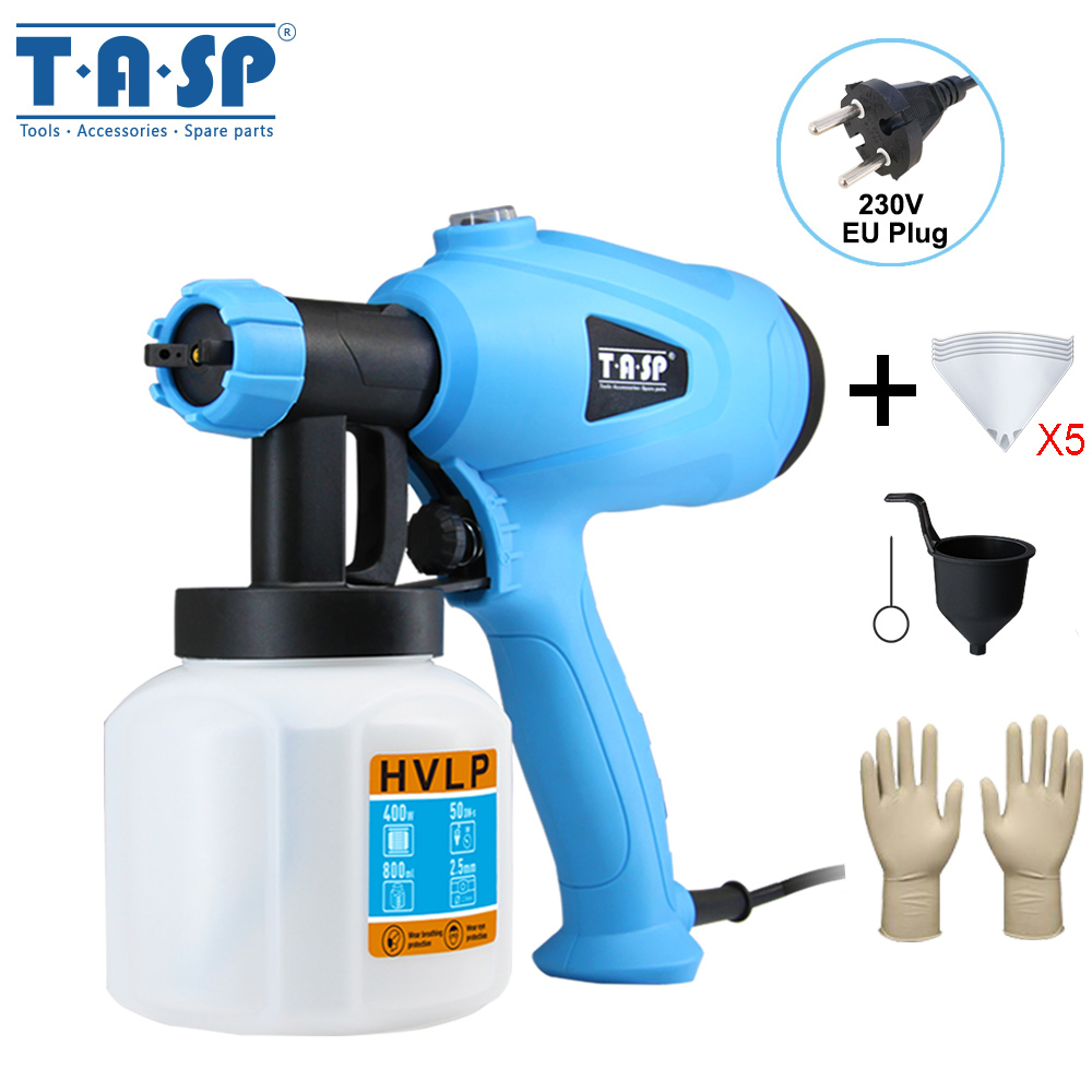 TASP 230V 400W Electric Spray Gun HVLP Paint Sprayer Power Painting Tool With Adjustable Flow Control For Home Owner