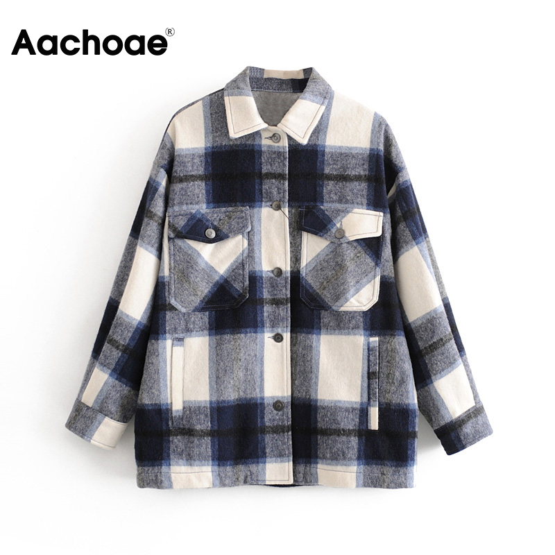 Women Casual Plaid Blouse Shirt Pockets Batwing Long Sleeve Fashion Shirt Female Spring Turn Down Collar Ladies Tops Ropa Mujer