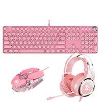Ragazze di colore rosa Set di Gioco Tastiera Del Mouse Auricolare Combo 104 Keycaps Asse Verde Tastiera Meccanica 3200 DPI Mouse Ottico del Trasduttore Auricolare