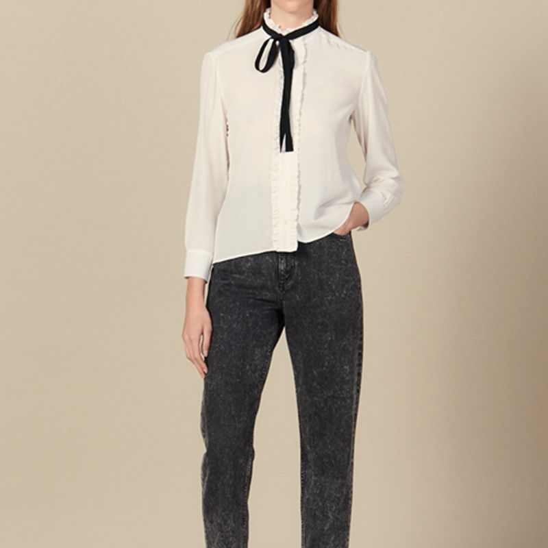 2019 automne femme piste chemises blanc vraie soie Blouses