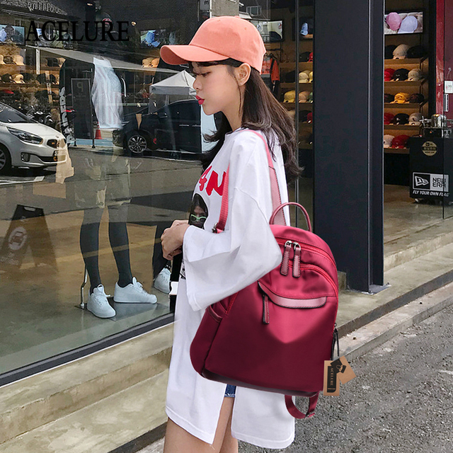 ACELURE High Quality PU Leather Women Backpack Fashion Solid School Bags For Teenager Girls Large Capacity Casual Women Backpack