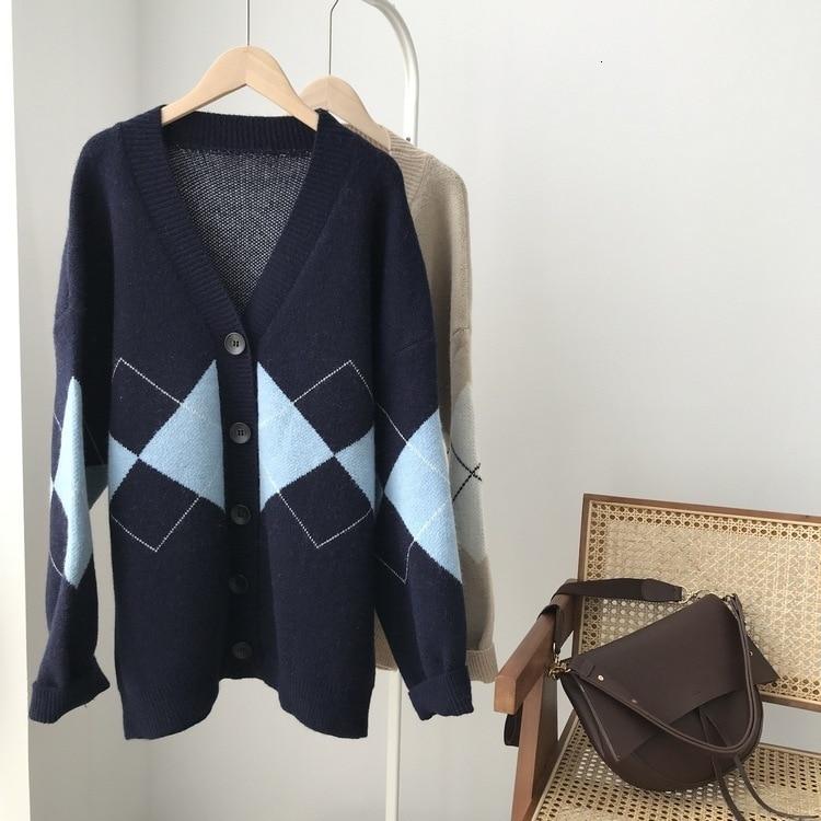 Mooirue hiver 2019 femme Harajuku tricoté Cardigan col en V à carreaux tricot Cardigan mince pull féminin Beige bleu manteau