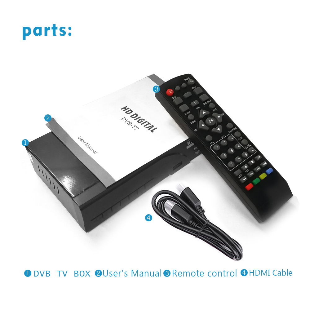 Image 5 - DVB T2 HD 1080P Digital Terrestrial Receiver H.265 / HEVC DVB T TV Tuner Support Dolby AC3 Youtube MPEG4 Standard Set Top Box-in Satellite TV Receiver from Consumer Electronics