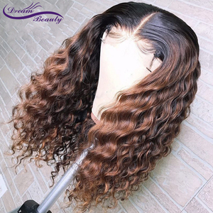 Image 2 - 1B/30 Ombre Color Lace Front Human Hair Wigs Baby Hair 13X6 Deep Part Curly Brazilian Non Remy Lace Wig Free Part Dream Beauty