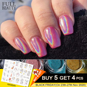 Holographic Powder on Nails Laser Silver Glitter Chrome Nail Powder DIP Shimmer Gel Polish Flakes for Manicure Pigment CH1028-4