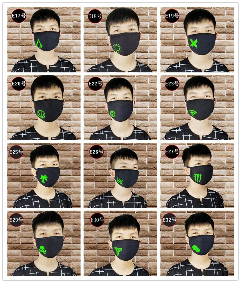 Quality 1PCS Unisex Halloween Party Luminous Face Masks Decor Pattern Solid Black Mask Half Face Mouth Muffle Masks