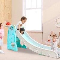 Baby Slide Foldable Indoor Outdoor Thicken Toy Slide Kindergarden Playground Home Game Children's Slide with basketball frame