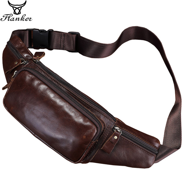 Flanker Genuine cow leather men waist bag casual small fanny pack travel waist pack cell phone bag crossbody bags man chest bag