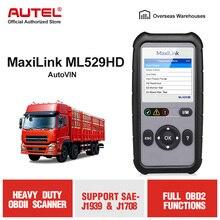 AUTEL MaxiLink ML529HD Trucks OBD2 Scanner Heavy Light Truck Code Reader Heavy Duty Diagnostic Tool Trucks Scaner Diagnostics motor heavy trucks service 2011 keygen