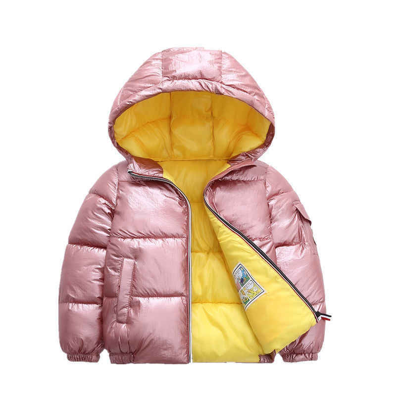 Girls winter coat shiny Silver pink snowsuit kids down jacket Boys Hooded Coat parka children Outerwear wear 3-8years