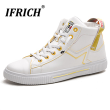 Spring/Autumn Walking Footwear For Men Black Pu Leather Shoes Man High Top Casual Men Sneakers Size 39-44 Fashion Shoes Boy women promotion canvas shoes for 2017 spring and autumn female high top pure black white classic casual footwear size 35 40