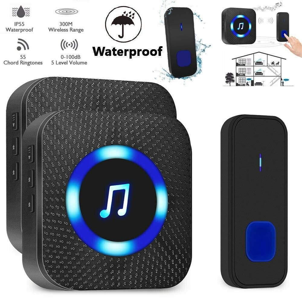 Waterproof Door Bell 1000ft LED Wireless Doorbell Outdoor Smart Door Bell Home Security Smart Doorbells