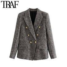 TRAF Women Vintage Stylish Double Breasted Houndstooth Tweed Blazer Coat Fashion
