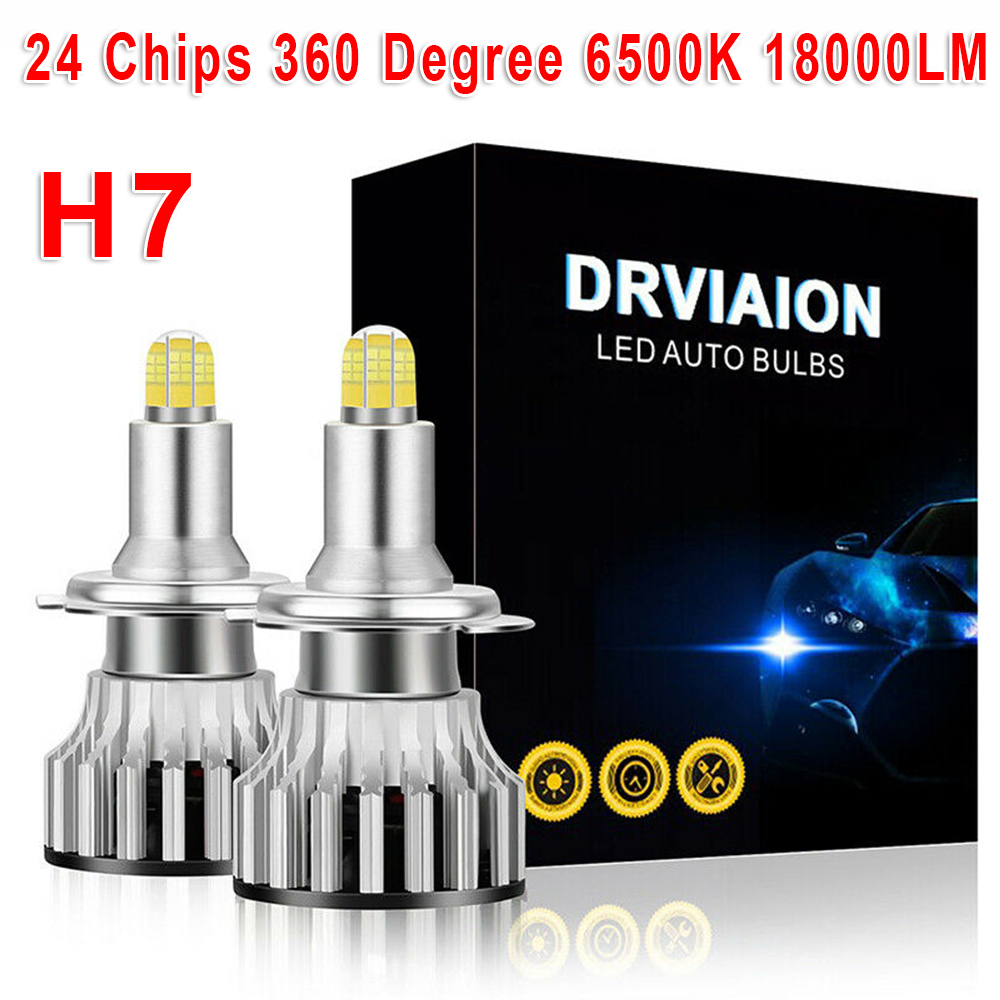 2Pcs 6500K 24 Chips H7 <font><b>LED</b></font> Lamp Car <font><b>Headlight</b></font> Bulbs <font><b>LED</b></font> <font><b>360</b></font> Degree DC 9-32 V image