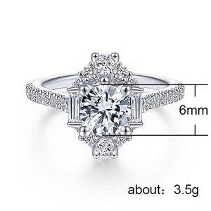 Image 2 - バゲ Ringen クラシック 100% 本物のシルバー 925 リングと 6 ミリメートルラウンド形状ジルコンリング結婚式婚約 Jewerly サイズ 6  10 卸売