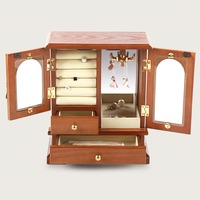 Wooden jewelry box vintage necklace ring earrings jewelry box pure color creative storage box