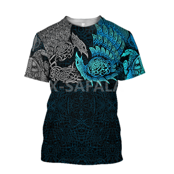 Summer Fashion Men T shirt  Fenrir Viking Odin Tattoo 3D All Over Printed T shirts Unisex Harajuku shirt Casual Tee Tops-4 1