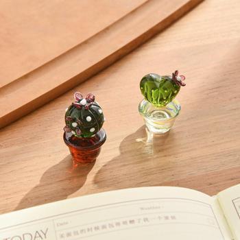 1pc szklana dekoracja ozdoby na biurko ozdoby kreatywne Mini kaktus ozdoby do domu małe ozdoby w stylu europejskim tanie i dobre opinie CN (pochodzenie) Duszpasterska Szkło Handmade Glass Cactus Ornaments 8 styles are available dropshipping wholesale