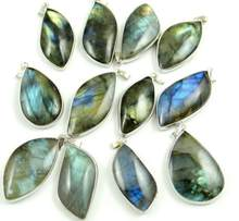 Natural Stone Quartz crystal Labradorite Copper Edging charms pendant for diy Jewelry making necklaces Accessories(China)