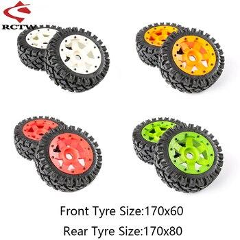 Front and Rear All Terrain Wheel Tire Assembly Kits with Nylon Wheel Hub for 1/5 HPI BAJA 5B Rofun Rovan KM RC CAR TOYS PARTS