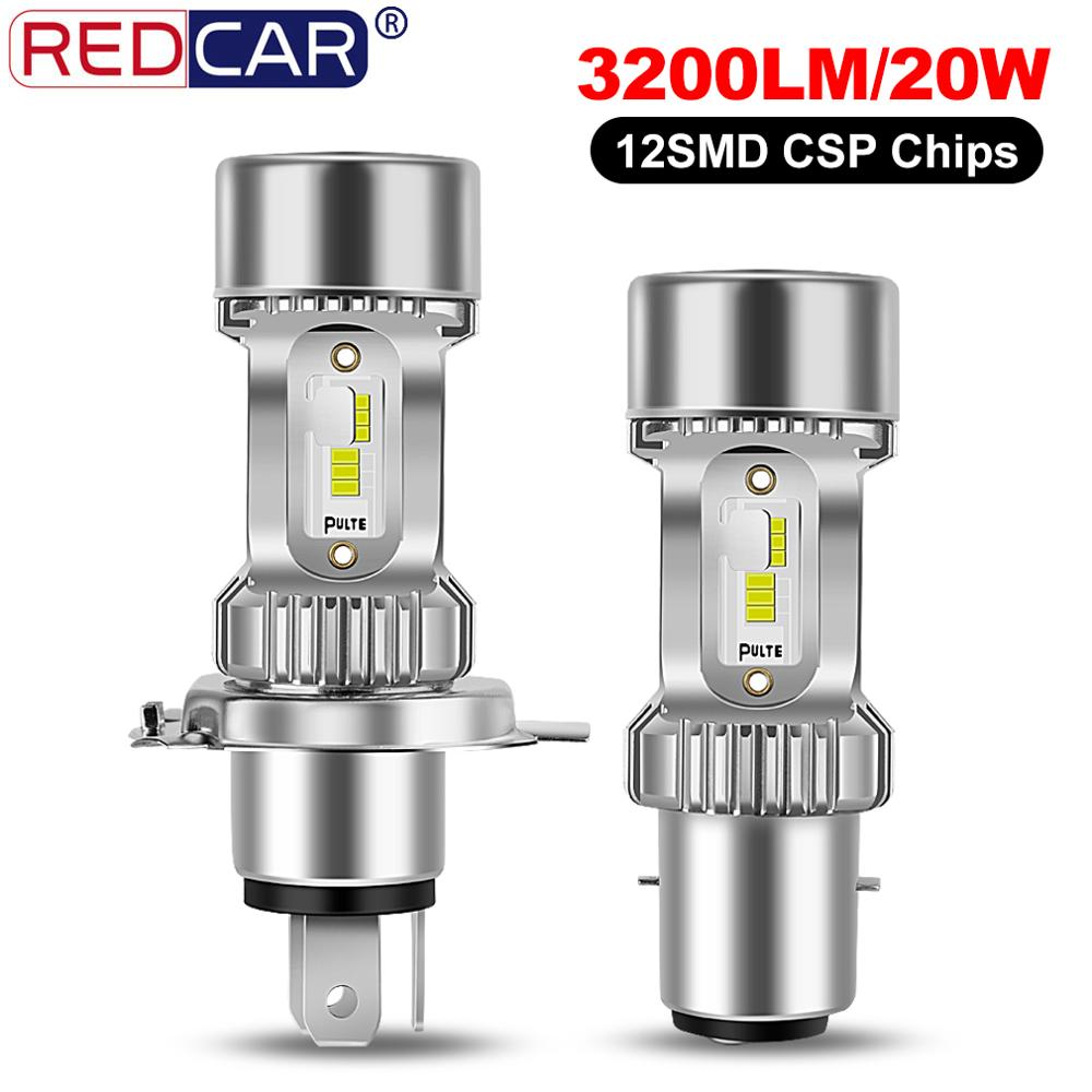 1 1 Motorbike Headlight H4 BA20D HS1 P43t Motorcycle LED Headlight 3200LM 20W 12SMD Super Bright CSP Chips Motorbike Accessories