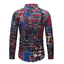 2019 New Style Men's Stand Collar Long-sleeved Shirt Ethnic-Style Series Printed Shirt PX1(China)