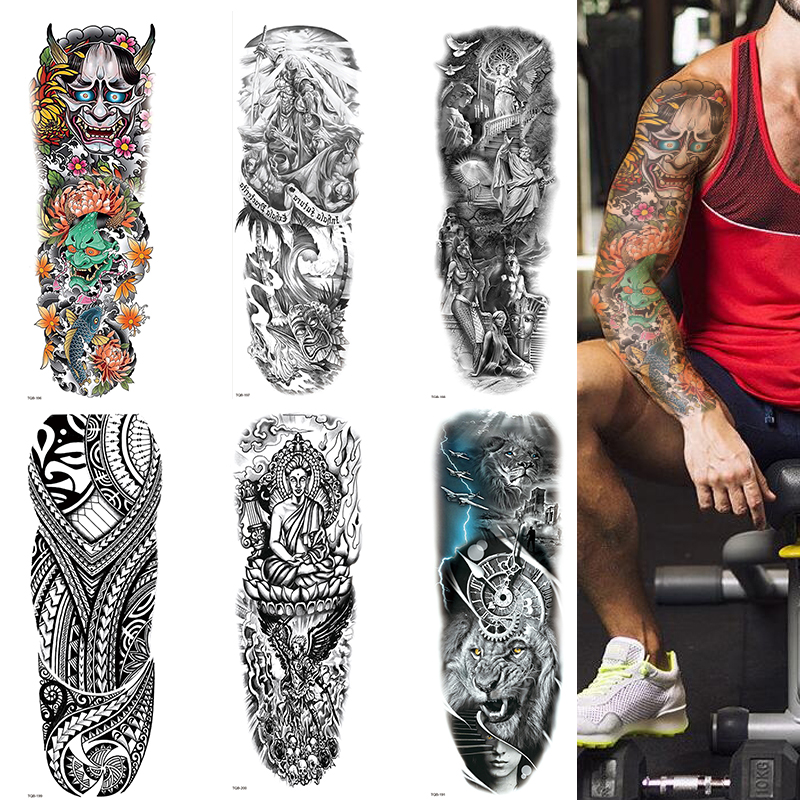 Polynesian Temporary Tattoo Sleeve Tribal Arm Waterproof Transfers Halloween Men