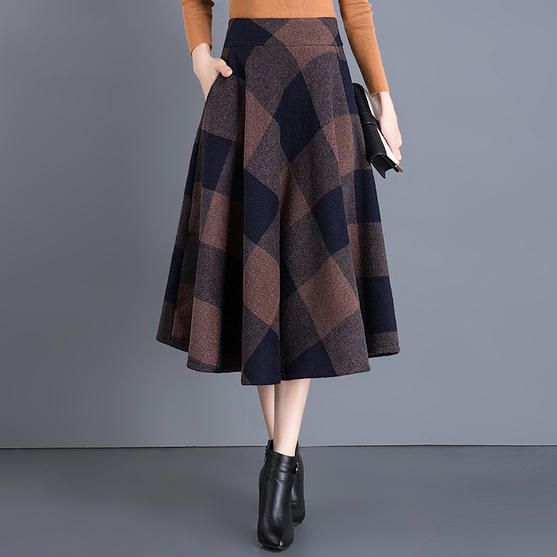 Skirt Women's Autumn And Winter Large Size Elegant High-waisted Woolen Long Skirts A- Line Skirt Full Skirt