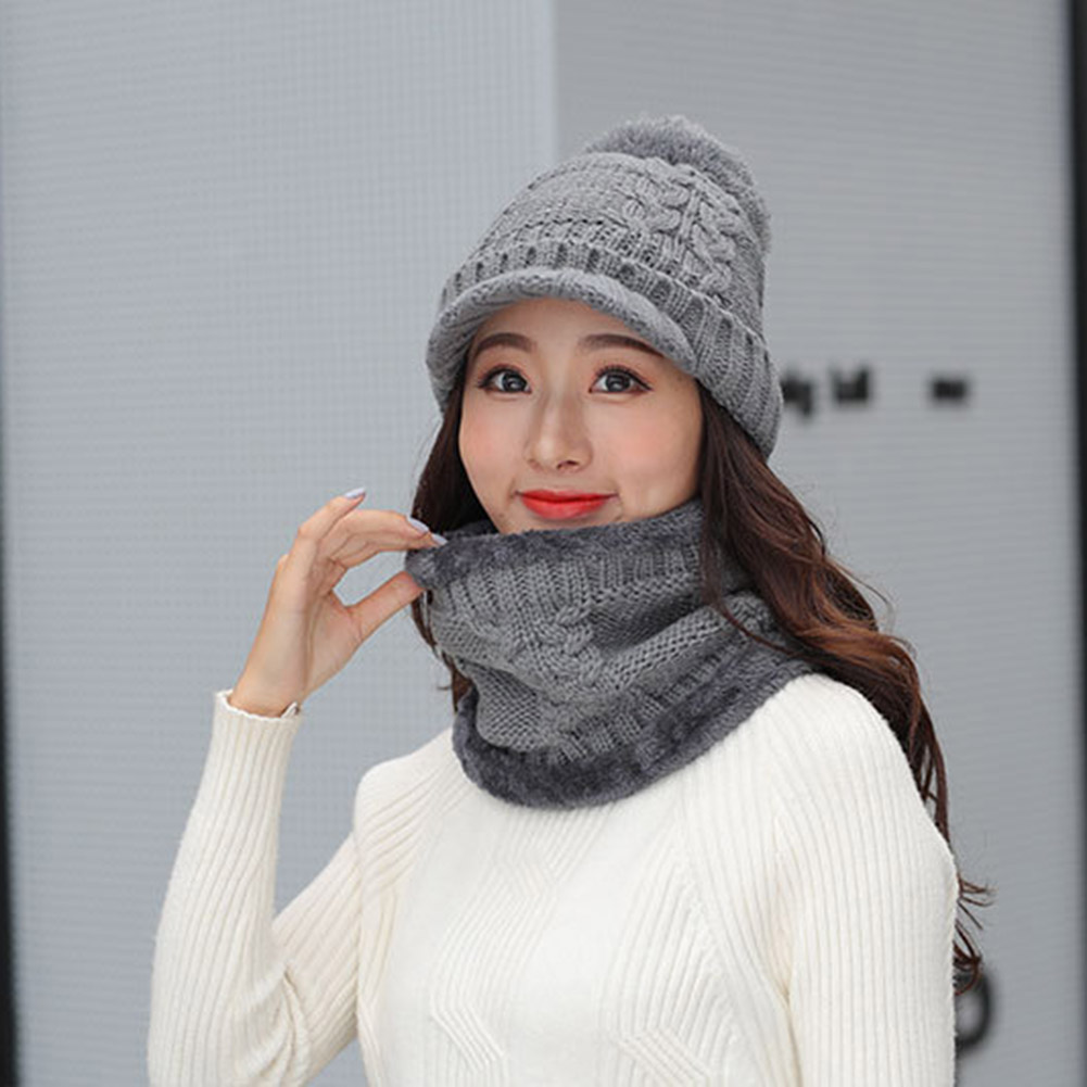 Fashion Women Solid Color Neckerchief Knitted Hats 2019 Temperament Female Winter Warm Thick Cap Scarves Set Garment Accessories