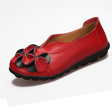 Women Summer Leather Flat Shoes Cute Flower Casual Leisure Shoes Round Toe Doug Shoes Ladies Flats все цены