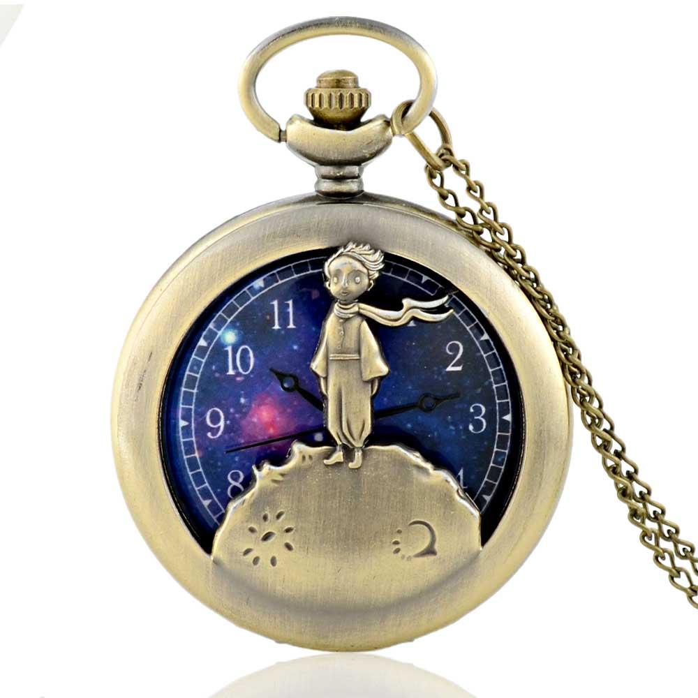 Retro Antique Bronze Little Prince Pocket Watch Vintage Fob Quartz Clock With Chain Necklace Pendant Gift For Children Boy