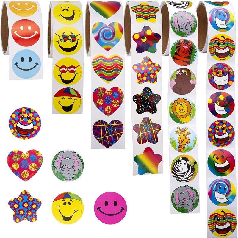 100pcs/roll Kids Stickers Cartoon Assorted Incentive Stickers Unique Designs For Kids Teachers Party Supplies Game Prizes Toys